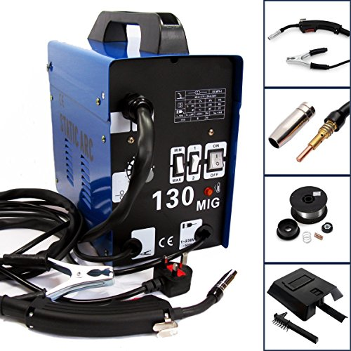 GASLESS MIG 130 AMP Welder NO Gas Flux CORE AUTO Wire Feed Portable Welding...