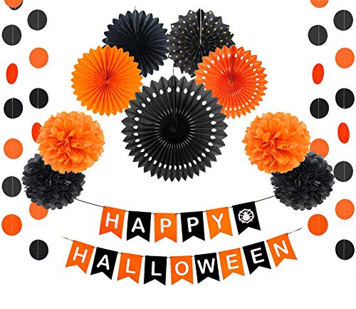 Black and Orange Halloween Party Decorations Happy Birthday Banner Paper Fans Circle Garland Pom Poms Flowers Halloween Birthday Wedding Baby Shower Festival Decoration ()