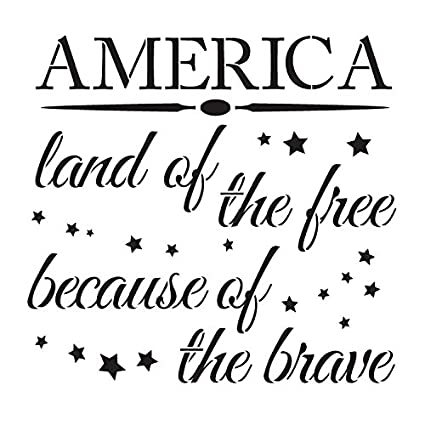 3d0456bdfb965 America - Land of The Free Stencil by StudioR12 | Patriotic Word Art -  Reusable Mylar Template | Painting, Chalk, Mixed Media | Use for Crafting,  DIY ...