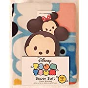 Tsum Tsum Super Soft Throw Blanket Featuring Character Faces on a Bright Blue Background