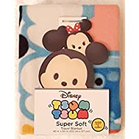 Tsum Tsum Super Soft Throw Blanket Featuring Character Faces on a Bright Blue...