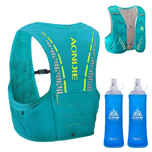 TRIWONDER 5L Hydration Vest for Hiking Cycling, Ultra Trail Race Vest Hydration Pack Backpack Marathon Running Vest Fits Men and Women (Mint Blue - with 2 Soft Water Bottles, M/L - 32.7-36.2in)