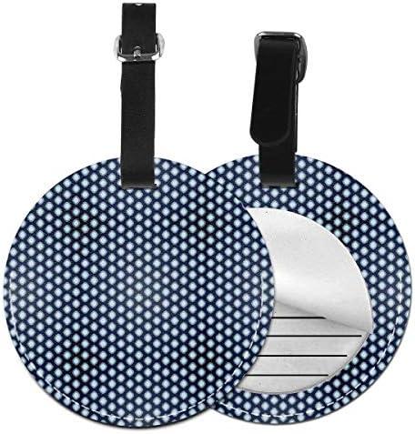 Ronde reisbagagelabelsSier abstracte ovale vormen patroon in blauwe tinten Simplistisch ontwerpLederen bagage Tag