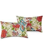 South Pine Porch AM5811S2-BREEZE Breeze Floral Outdoor 19x12-inch Rectangle Accent Pillow, Set of 2