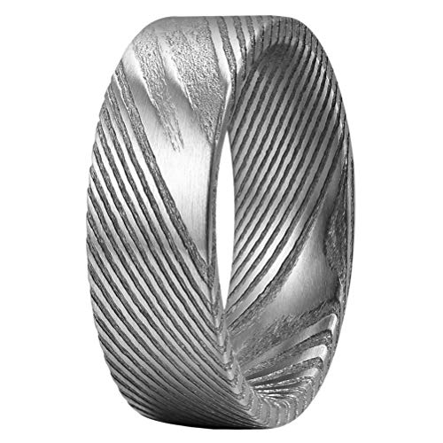 mm Damascus Steel Mens Wedding Ring Flat Wood Grain Bold Hand Forged Damascus Steel Wedding Band Engagement Ring Silver Size 8 ()