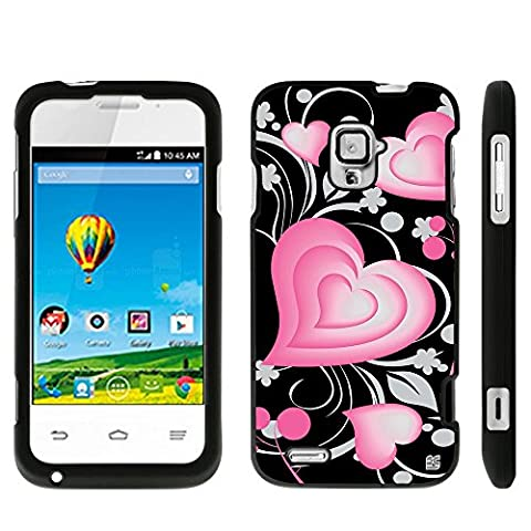 ZTE Rapido LTE Z932L/ Z932C(Straight Talk,Net 10,Tracfone) Beyond Cell ®2 piece Snap On Case With Premium Protection Slim Light Weight Non-Slip Matte Hard Shell Rubber Coated Rubberized Protective Phone Case Cover With Design - 3D Hearts Design - Retail (Zte Rapido Phone Cases)