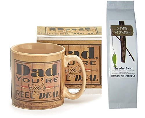 Dad Coffee Mug and Coffee Gift Set - Dad You're the Reel Deal Fisherman Mug Cup with Gone Fishing Breakfast Blend Coffee 2 Item Bundle