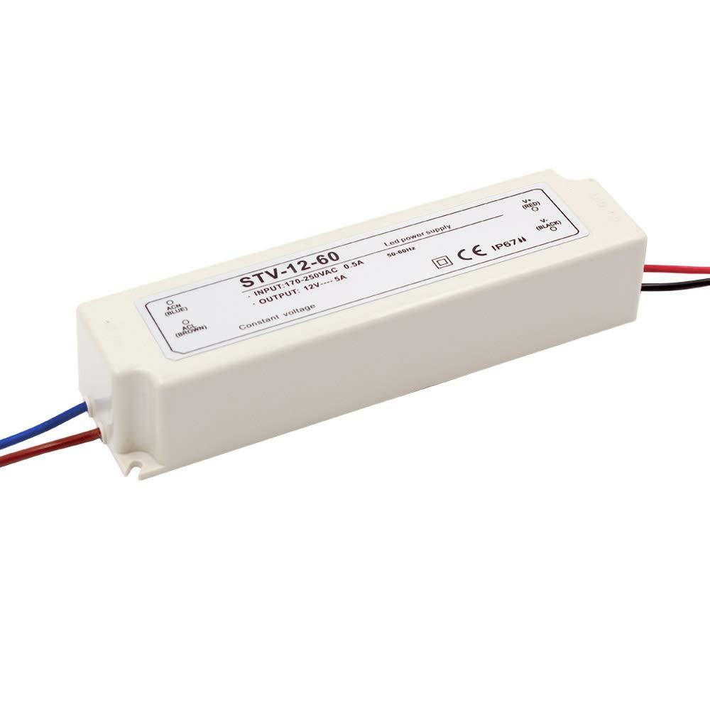 Auforua Alimentation LED Étanche IP67 Électrique 230V CA/ 100W 12VDC 8.3A, Transformateur LED pour Ruban LED Stripe et Multi-usage éclairages Exterieur