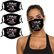 B&MAVIS 3PCS Face Mask Washable Reusable Pink Welcome Fully Vaccinated Vaccine Bandana Scarf Adjustable St