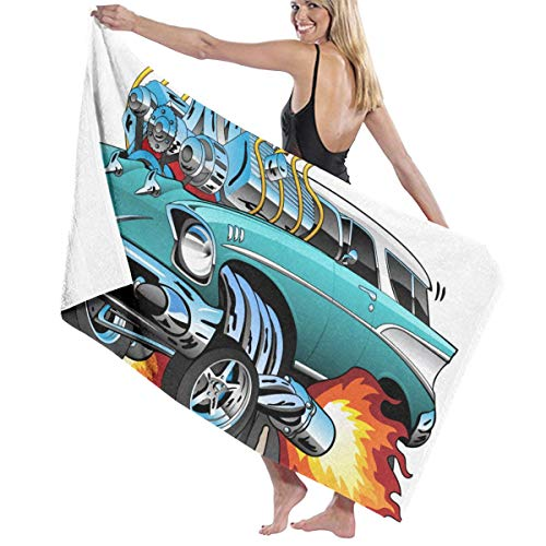 AHJTHGMIXG Beach Towel Blanket Custom Classic Fifties Hot Rod Muscle Car Cartoon Bath Towel Funny Towel Oversized]()