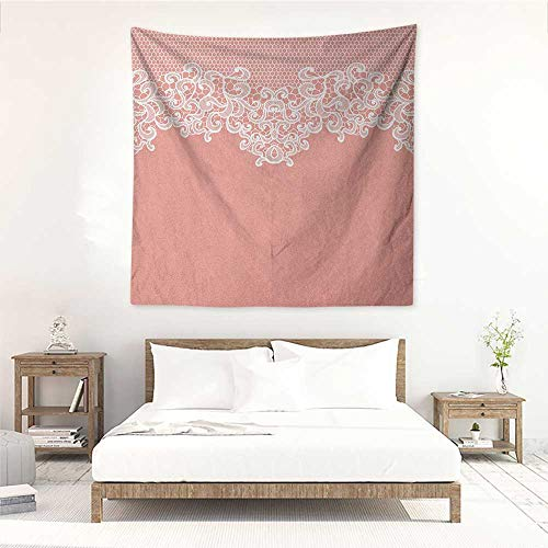 (Peach Living Room Square Tapestry Abstract Lace Design Wedding Engagement Inspiration Floral Arrangement Pale Backdrop Literary Small Fresh 55W x 55L INCH Coral White)