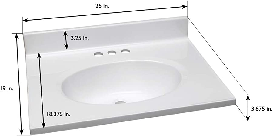 Design House 551267 25x19 Cultured Marble Single Bowl Vanity Top With Integrated Backsplash 4 In Centerset 25 X 19 Solid White Vanity Sinks