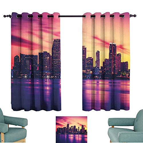 (HCCJLCKS Customized Curtains United States View of Miami at Sunset Building Urban Modern City Life Ocean Skyline Privacy Protection W72 xL45 Purple Pink Peach)