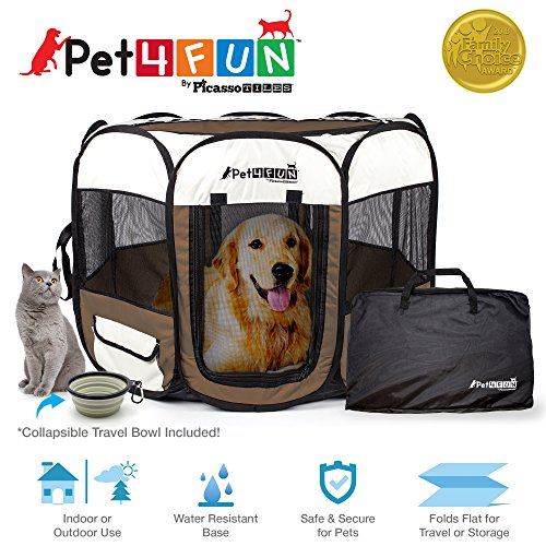 Small Pals Pen (PET4FUN PN935/PN945 Portable Pet Puppy Dog Cat Playpen Crates Kennel w/ Water Resistant 600D Oxford, 210D Nylon, Carrying Bag, Collapsible Bowl, Removable Mesh Cover | Available in 3 Colors & 2 Sizes)