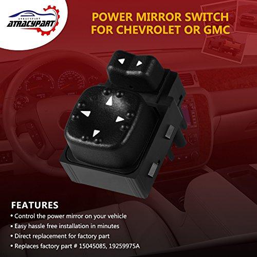 ATRACYPART Power Mirror Switch for Replaces OE# 15045085 Chevrolet Silverado Tahoe Suburban,GMC Yukon Sierra 19259975 Years model 2000-2002