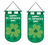 """""""Happy St. Patrick's Day"""" Shamrock Door Banner, Green, Felt, 19.5 Inches (Pack of 2)"""