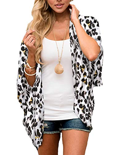 Womens Chiffon Boho Kimono Cardigan Leopard Print Open Front Summer Beach Cover Up Open Front Top Wraps -
