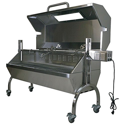 Titan Attachments Rotisserie Grill Roaster Spit Glass Hood Stainless Steel 25W 125lb Capacity - Cajun Stainless Rotisserie Steel