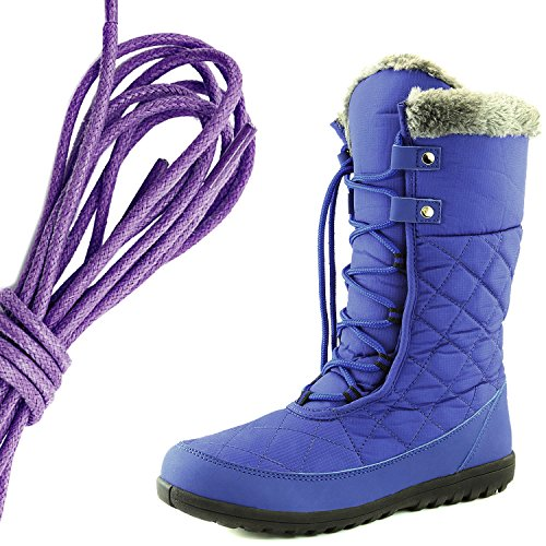 DailyShoes Womens Comfort Round Toe Mid Calf Flat Ankle High Eskimo Winter Fur Snow Boots, Purple Royal Blue