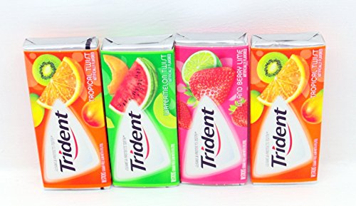Trident Fruit Variety 4 (18 Stick) Pack - Tropical Twist, Watermelon Twist & Island Berry Lime BUNDLED!