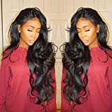 Isshin Beauty 9A Glueless Full Lace Human Hair Wigs With Baby Hair Body Wave 130% Density Natural Black Brazilian Virgin Hair Bleached Knots Lace Front Wigs For Black Women 18inches Natural Color