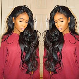 Isshin Beauty 9A Glueless Full Lace Human Hair Wigs With Baby Hair Body Wave 130% Density Natural Black Brazilian Virgin Hair Bleached Knots Lace Front Wigs For Black Women 8inches Natural Color