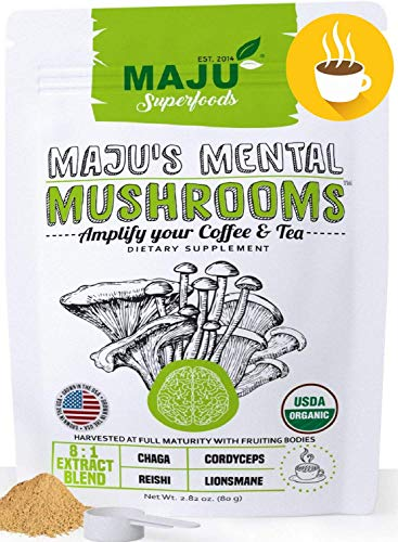 MAJU s Mental Mushroom Powder Extract, Strong Lions Mane, Chaga, Reishi, Cordyceps, Fruiting Bodies for Coffee, Immune System Booster, Nootropic Brain Supplement, Memory, Organic Mushrooms