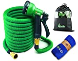 Gada Flexible Garden Hose Set 50 FT Heavy Duty Double Latex Core Expandable Water Hose-Including A 8 Function Sprayer Nozzle, 3/4 USA Standard Connector-1 Year Warranty (Green)