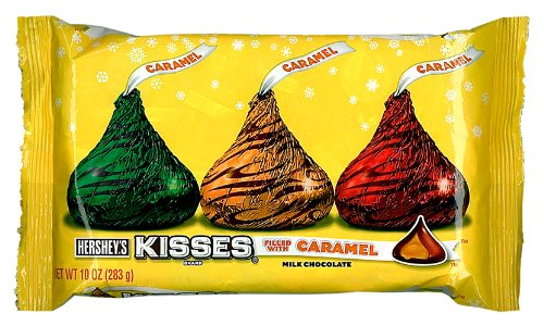 Holiday Hershey's Kisses Milk Chocolate with Caramel, 10-Ounce Bag ()