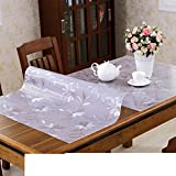 XKQWAN Pvc table cloth Table cloth waterproof Burn-proof Disposable soft glass Transparent table mat Cushion coffee table pad-E 90x150cm(35x59inch)