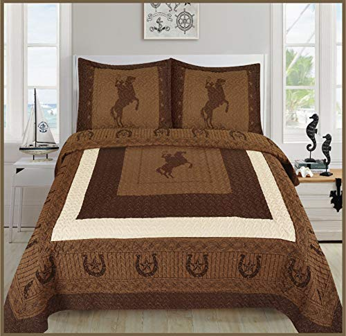 Elegant Home Western Texas Star Stars Horse Horses Riding Cowboy Design 3 Piece Coverlet Bedspread Quilt # Cowboy (Brown/Chocolate, King Size) (Western Coverlet Set)