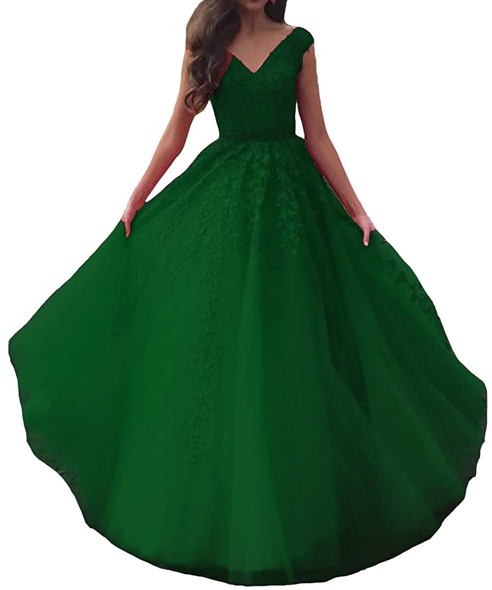 Emerald Green Lemai Women V Neck Beaded Lace Appliques Tulle Long Formal Evening Prom Dresses