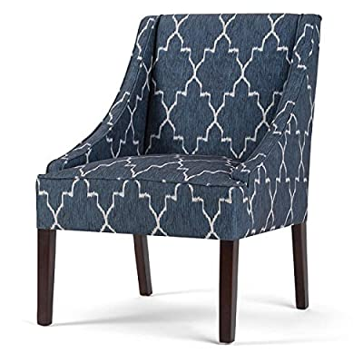 Simpli Home AXCCHR-011 Hayworth 25 inch Wide Transitional Accent Armchair in Cobalt Blue Moroccan Patterned Fabric, Fully Assembled - Handcrafted using kiln-dried engineered and solid woods with high density foam and reinforced seat webbing for extra support, durability and comfort Upholstered with a durable Cobalt Blue Moroccan Patterned fabric with swooped arms Dark Brown solid wood legs - living-room-furniture, living-room, accent-chairs - 518xwFdAY L. SS400  -