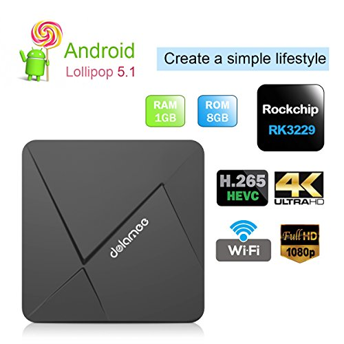 DOLAMEE D5 Smart Set Top Box Android 5.1 Rockchip RK3229 Quad-core 1GB RAM 8GB ROM 4K Mini PC Internet with WIFI HDMI 2.0 LAN