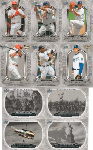2008 Upper Deck a Piece of History MLB Baseball Complete Mint Hand Collated 200 Card. This Set Is Loaded with Baseball Stars Including Josh Hamilton, Albert Pujols, Alex Rodriguez, David Wright, Derek Jeter, Ken Griffey, Carlos Beltran, Mike Piazza, Ichiro Suzuki, Joba Chamberlain, Chipper Jones and Others. Historical Figures Including the Berlin Wall, Eiffel Tower, Boston Tea Party, Paul Revere, Wright Brothers, Hindenburg, Liberty Bell, Nobel Prize, Supreme Court, Jamestown, Sputnik, Space Shuttle and Many More! Baltimore Orioles Mlb Wall