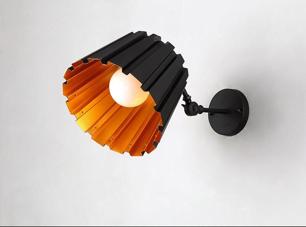 ALUP- ポストモダンスタイルアイアンランプボディアルミランプシェードE27伸縮ポールウォールランプ (色 : Black)  Black B07FKMM58F