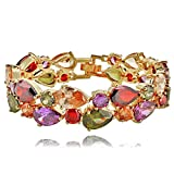 EVER FAITH® Dual Layer Multicolor Full Prong CZ Bracelet Chain Gold-Tone
