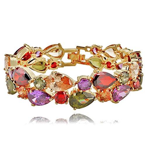 EVER FAITH Women's Prong Cubic Zirconia Vintage Style Dual Layer Tear Drop Bracelet Multicolor Gold-Tone ()