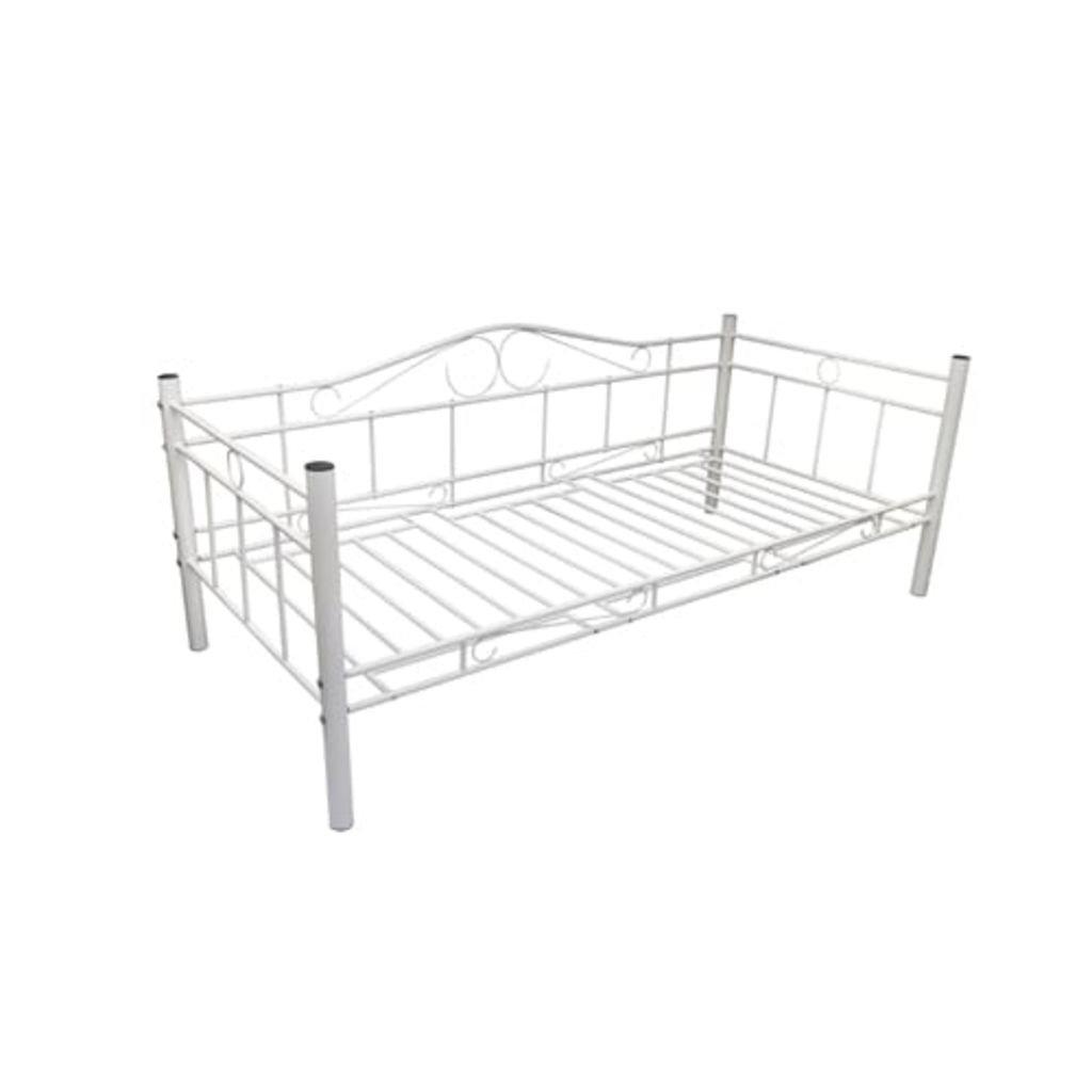 XINGLIEU Bettsofa aus Metall 90 x 200 cm Weiß Das Hochwertige Bett Hat Ein Modernes Design und Stilvoll Auch Sehr Bequem.