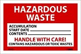 National Marker Corp. HW20ALV Labels, Hazardous Waste, 4 Inch X 6 Inch, PS Vinyl, 500/Roll