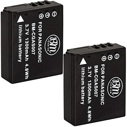 BM Premium 2-Pack of CGA-S007 Batteries for Panasonic DMC-TZ1, DMC-TZ2, DMC-TZ3, DMC-TZ4, DMC-TZ5, DMC-TZ11, DMC-TZ15, DMC-TZ50 Digital Camera