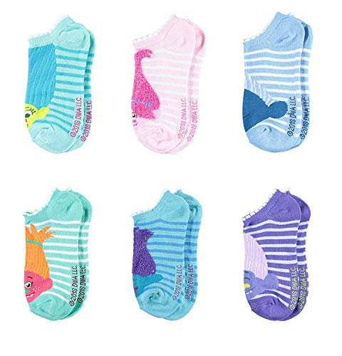Trolls Girls No Show Socks - Princess Poppy, King Peppy, DJ Suki - Kids Crew Cut 6-Pair Set (Blush, Girls Sock Size 9/11, Shoe Size 4-10)]()