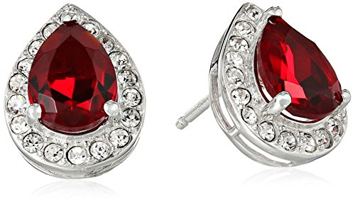 Siam Collection - Sterling Silver Swarovski Siam Color and Clear Crystal Pear Stud Earrings