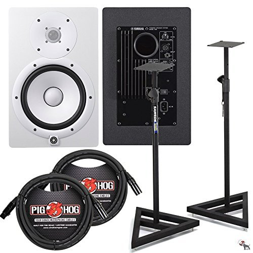 Yamaha HS8 Studio Monitor Pair in White with Samson Stands and XLR Cables
