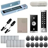 Vsionis FPC-5594 One Door Access Control Outswinging Door 600lbs Maglock With VIS-3003 Slim Outdoor Weather Proof Digital Touch Keypad/ Reader Standalone No Software 2000 Users and PIR Kit