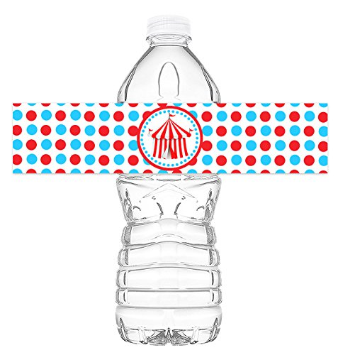 Circus Carnival Bottle Wraps - 20 Circus Water Bottle Labels - Carnival Decorations - Made in the USA (Water Carnival)