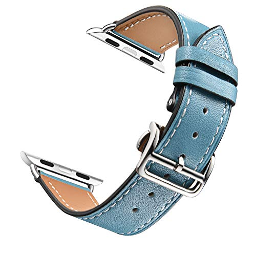 (Compatible with Apple Watch Band 38mm 40mm 42mm 44mm, Classic Genuine Leather Cowhide Thick line Trace Folding Buckle Watch Band Compatible with Apple Watch Series 4 3 2 1 (Blue, 38mm))