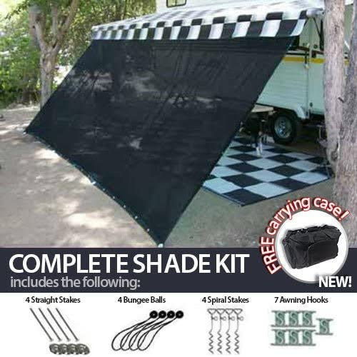 10' x 20' RV Awning Shade Net (Black) Complete Kit with Carry Bag Canopy Shelter Screen Panel and Awning Maintenance Manual Motor Home Trailer 518xx8lh7zL