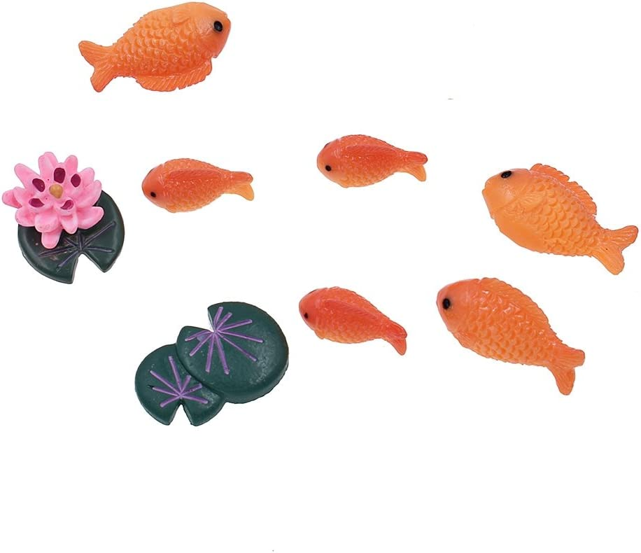 Towashine Resin Fake Red Fish Lotus Toy Set Miniature Dollhouse Ornaments Fairy Garden Animals Micro Landscape Decor