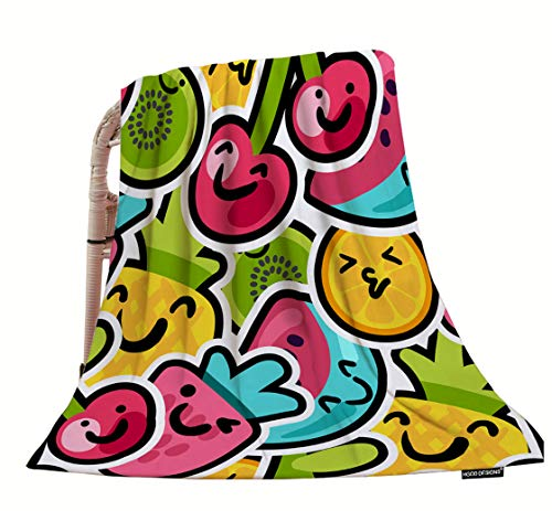 HGOD DESIGNS Fruits Throw Blanket,Lovely Funny and Bright Painted Pineapple Orange Watermelon and Cherries Soft Warm Decorative Throw Blankets for Adults Kids Women Men Girls Boys,40